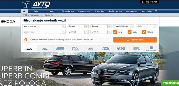 spletna stran prodaja rabljenega avtomobila