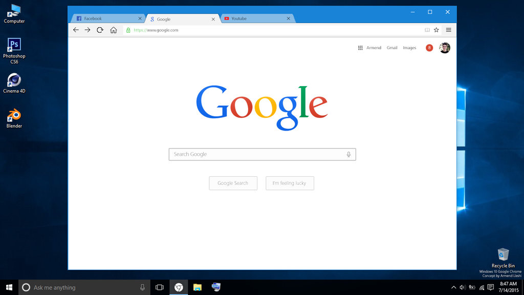 opravilna vrstica Google Windows 10